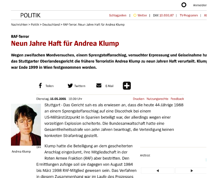 Andrea Klump en Der Spiegel (15 de mayo de 2001)