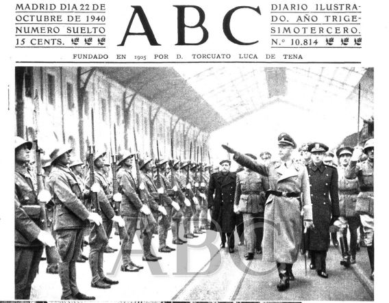 Portada de ABC. Llegada de Himmler a Madrid, Estación Central