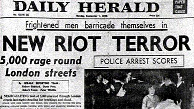 El Daily Herald dedica su portada a los incidentes racistas.
