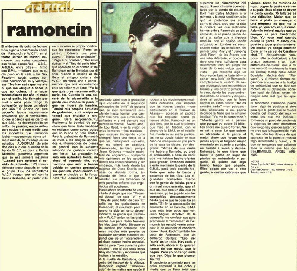 Entrevista a Ramoncín en Vibraciones (marzo de 1978)