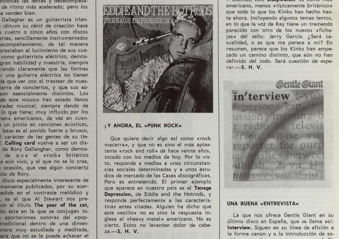 """Ritmo,en junio de 1977,«¡Y ahora, el """"punk rock""""!»"""