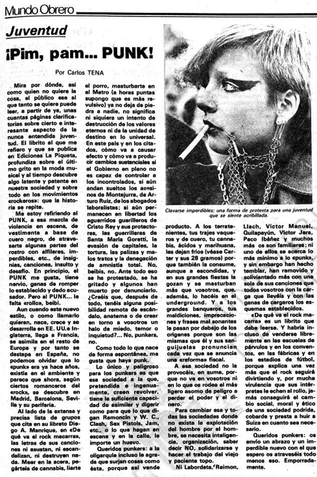 Carlos Tena,«¡Pim, pam... punk!»,publicado en octubre de 1977 en Mundo Obrero