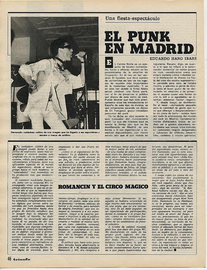 Eduardo Haro Ibars,«El punk en Madrid» (noviembre de 1977, Triunfo)