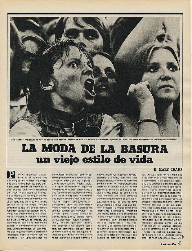 Eduardo Haro Ibars,«La moda de la basura: un viejo estilo de vida» (septiembre de 1977, Triunfo)