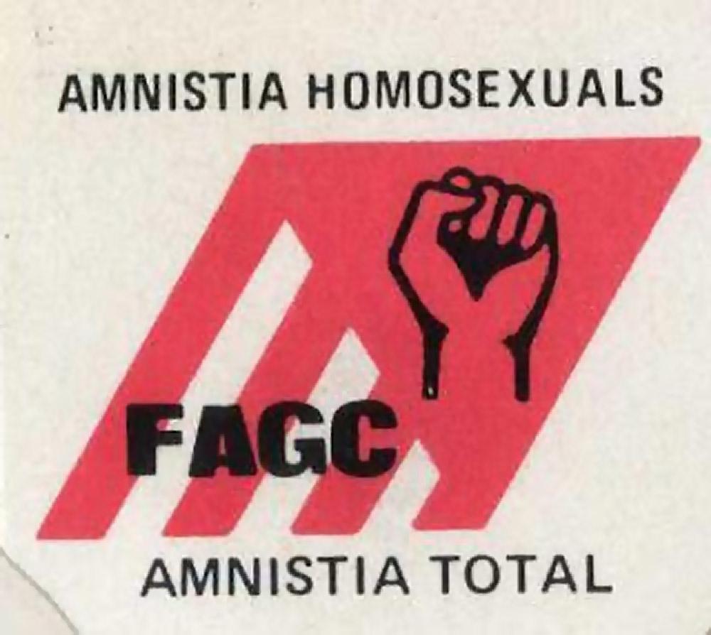 Cartel de la FAGC pidiendo la amnistia para los gays encarcelados