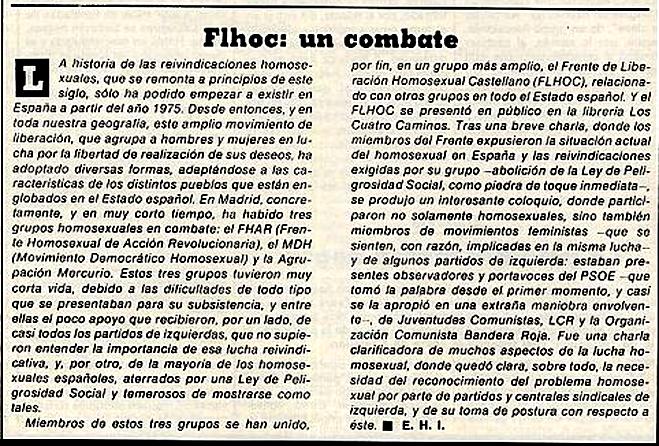 Noticia sobre el surgimiento del FLHOC ( Triunfo , 17 de junio de 1978)
