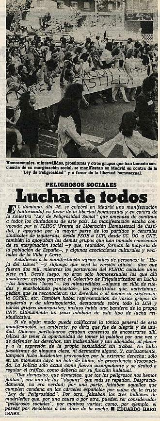 Fotografía del FLHOC y artículo de Eduardo Haro Ibars ( Triunfo , 1 de julio de 1978)
