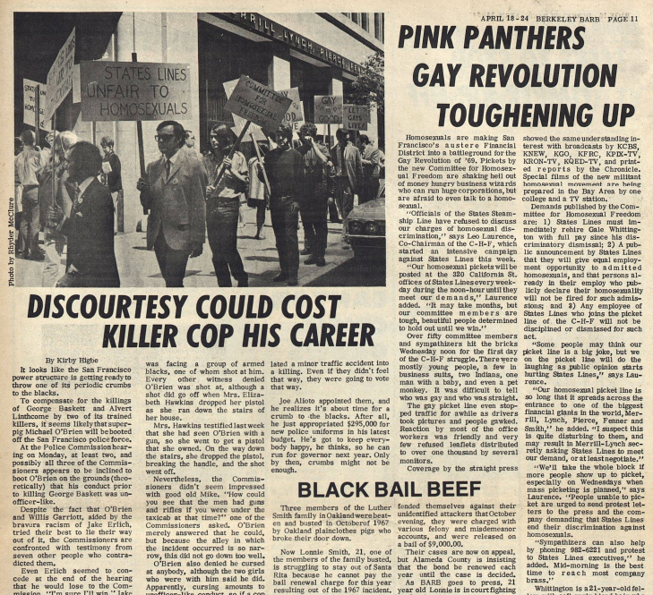 Noticia sobre los Pink Panthers originales (Berkeley Barb, 1969)