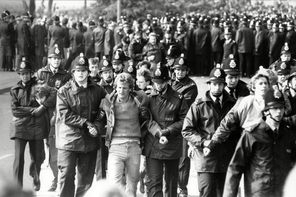 Protestas de los mineros durante la huelga de 1984