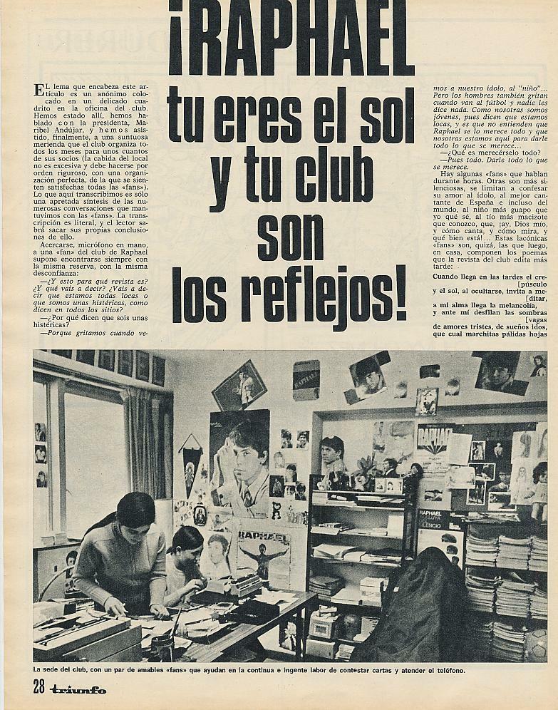 Maribel en su sede del club de fans (Triunfo, abril de 1971)