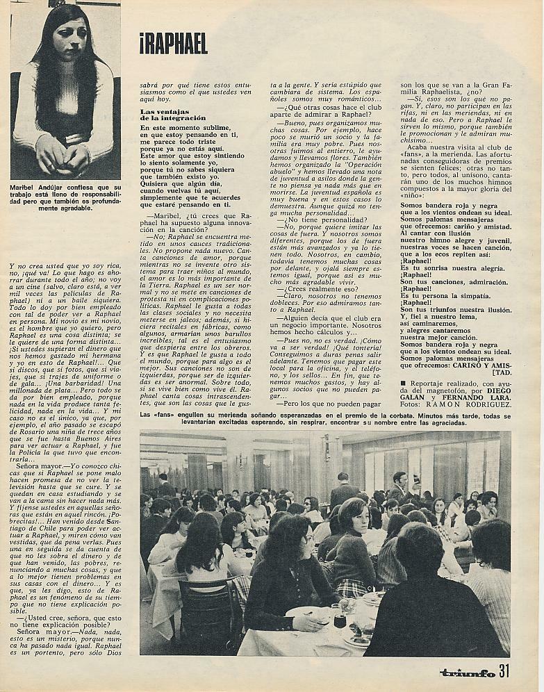 Maribel, arriba a la izquierda. Abajo, reunión de las raphaelistas (Triunfo, abril de 1971)