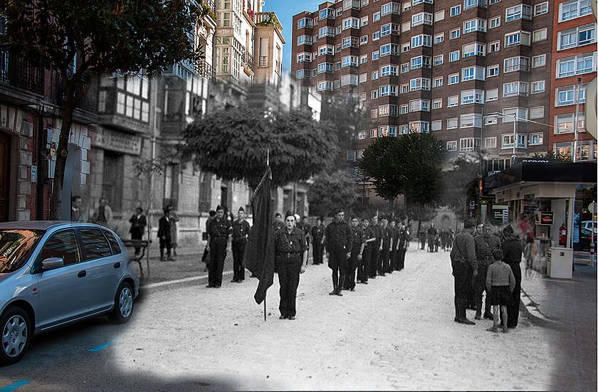 Tropas de Albiñana en Burgos. Montaje fotográfico por correo68.wixsite.com