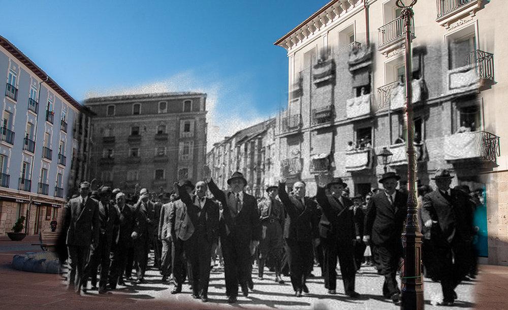 Albiñana, en el centro y brazo en alto, desfila por el centro de Burgos. Montaje fotográfico por correo68.wixsite.com