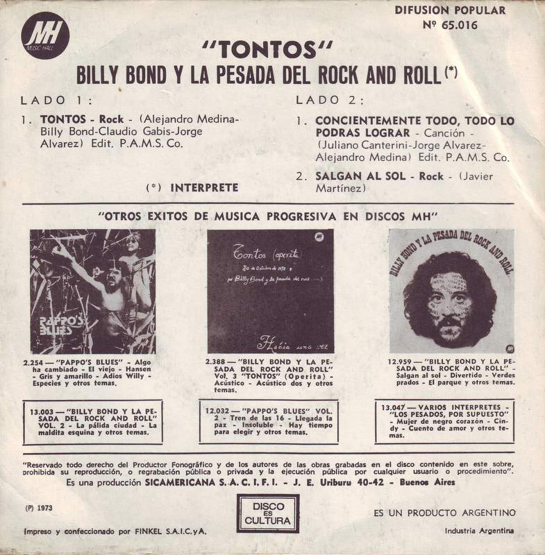 Single «Tontos» de Billy Bond y la Pesada del Rock and Roll (1973)