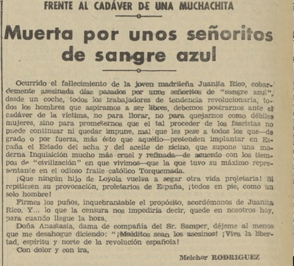La noticia en  La Tierra  (22 de junio de 1934)