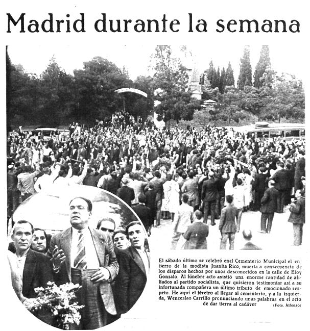 Otro instante del emocionante funeral. Wenceslao Carrillo pronuncia el discurso ante el público (Mundo Gráfico, 27 de junio de 1934)