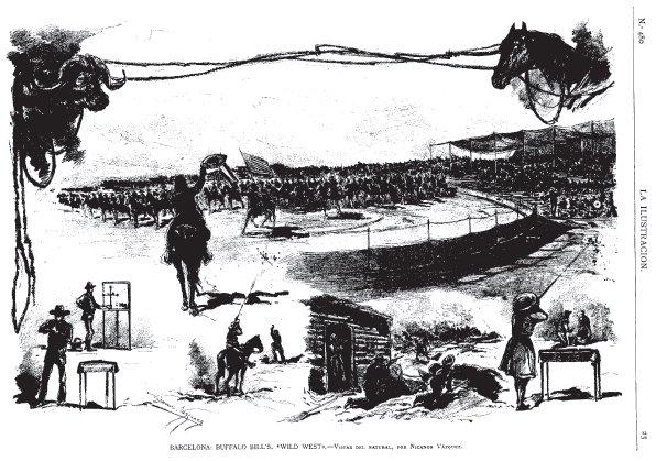 Ilustraciones de una de las funciones del circo en Barcelona ( La Ilustración Artística , 12 de enero de 1890)