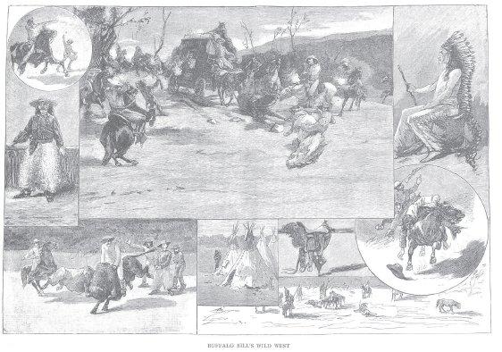 La Ilustración Catalana , el 31 de diciembre de 1889, publicó estas ilustraciones que recogen varios momentos del show en Barcelona