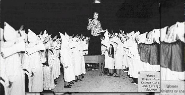 Margaret Sanger, fundadora de Planned Parenthood, durante un mítin al WKKK en Silver Lake (1926)