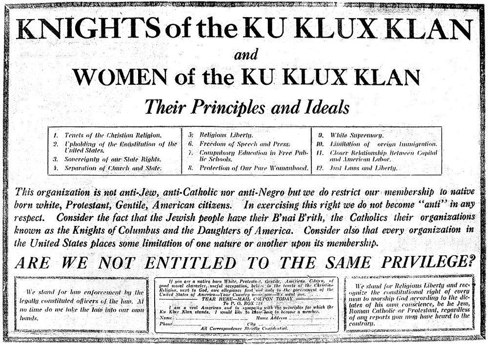 Panfleto a favor de las WKKK (1924)