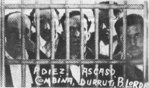 Díez, Ascaso, Pérez Combina, Durruti y Lorda en la cárcel de Puerto Santa María (1933)