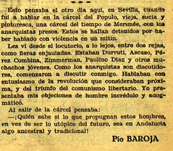 Baroja y su encuentro con Durruti en Ahora (23 de abril de 1933)