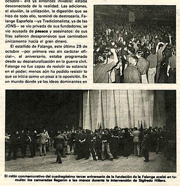 Algunas escenas de los incidentes. Golpes y cordones de seguridad entre falangistas. Revista  Triunfo