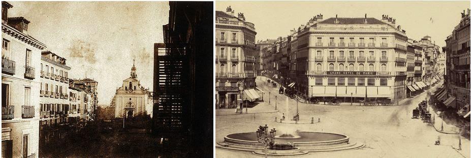 Fuente: bdh-rd.bne.es (Jean Laurent). Izquierda: Antigua Puerta del Sol con la iglesia del Buen Suceso (1854). Derecha: Puerta del Sol con la nueva Casa de Fontanella (1870) con el café Imperial y el Grand Hotel de París.