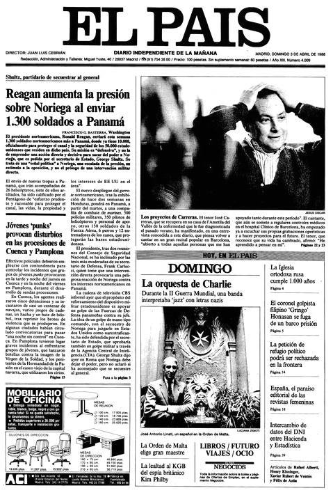 """«Jóvenes """"punks"""" provocan disturbios en las procesiones de Cuenca y Pamplona». Portada de  El País  (abril de 1988)"""