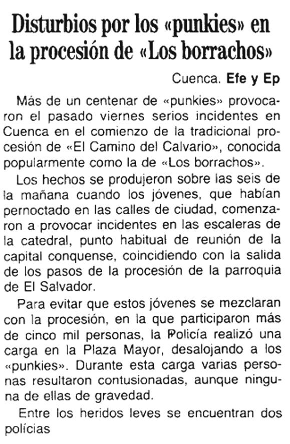 Disturbios protagonizados por punks durante la Semana Santa de 1992 en Cuenca ( ABC )