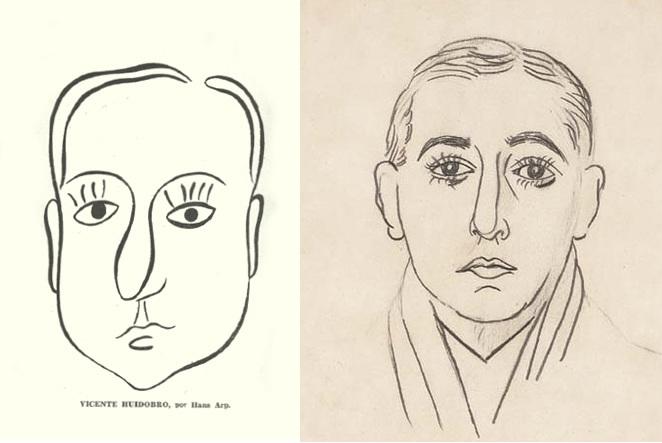 Retratos de Huidobro por Hans Arp y Picasso