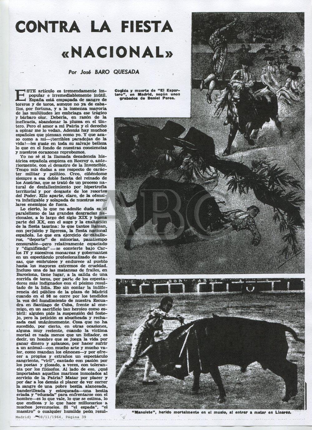 """«Contra la Fiesta """"Nacional""""». El artículo de la polémica ( ABC , 8 de noviembre de 1964)"""