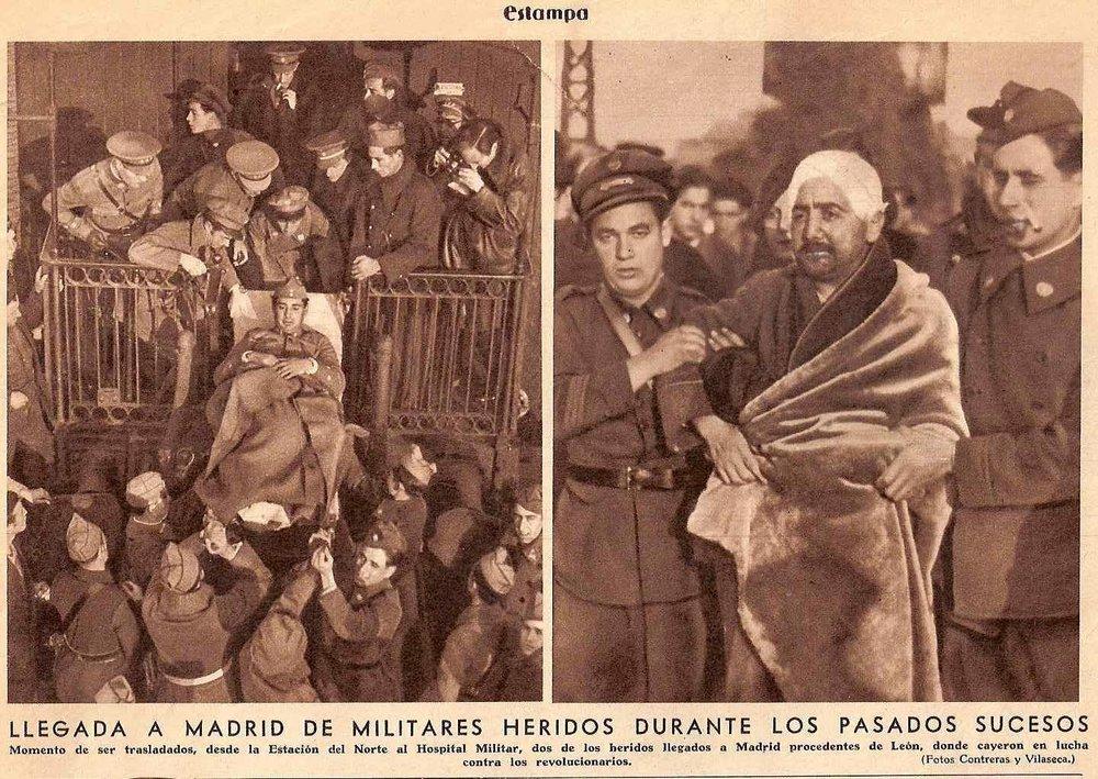 La revolución fracasada y los militares heridos ( Estampa , octubre de 1934)