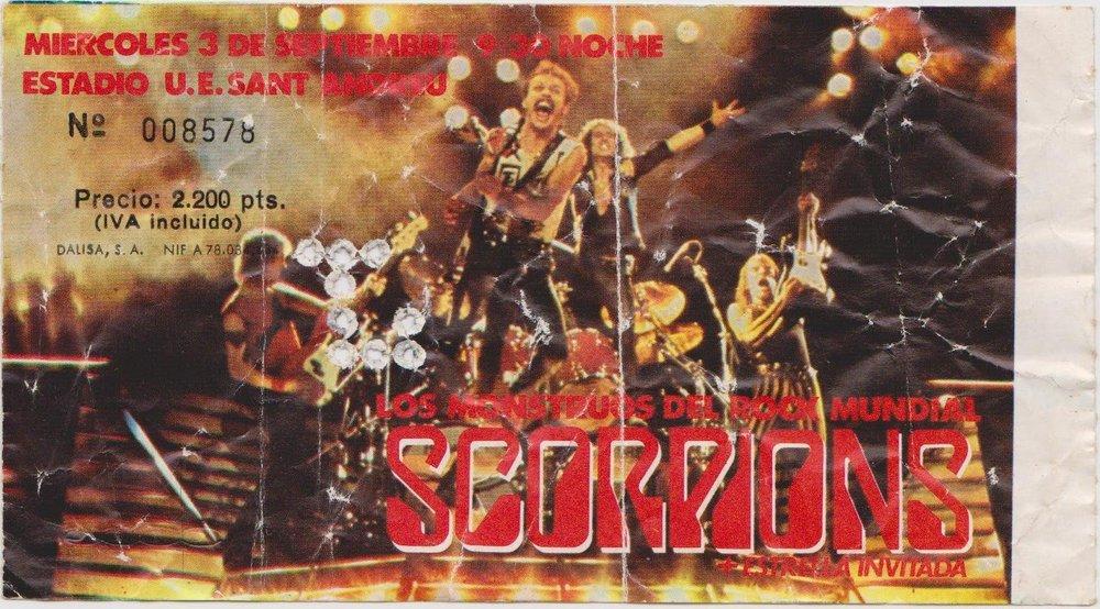 Entrada para el concierto de Scorpions en Barcelona