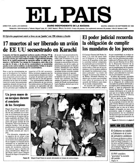 Portada de El País dedicada al asesinato. Puede verse la imagen del cuerpo de Miguel Ángel siendo sacado del estadio