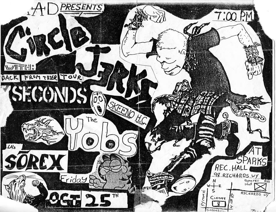 Cartel de Circle Jerks junto a 7 Seconds y otras bandas clásicas