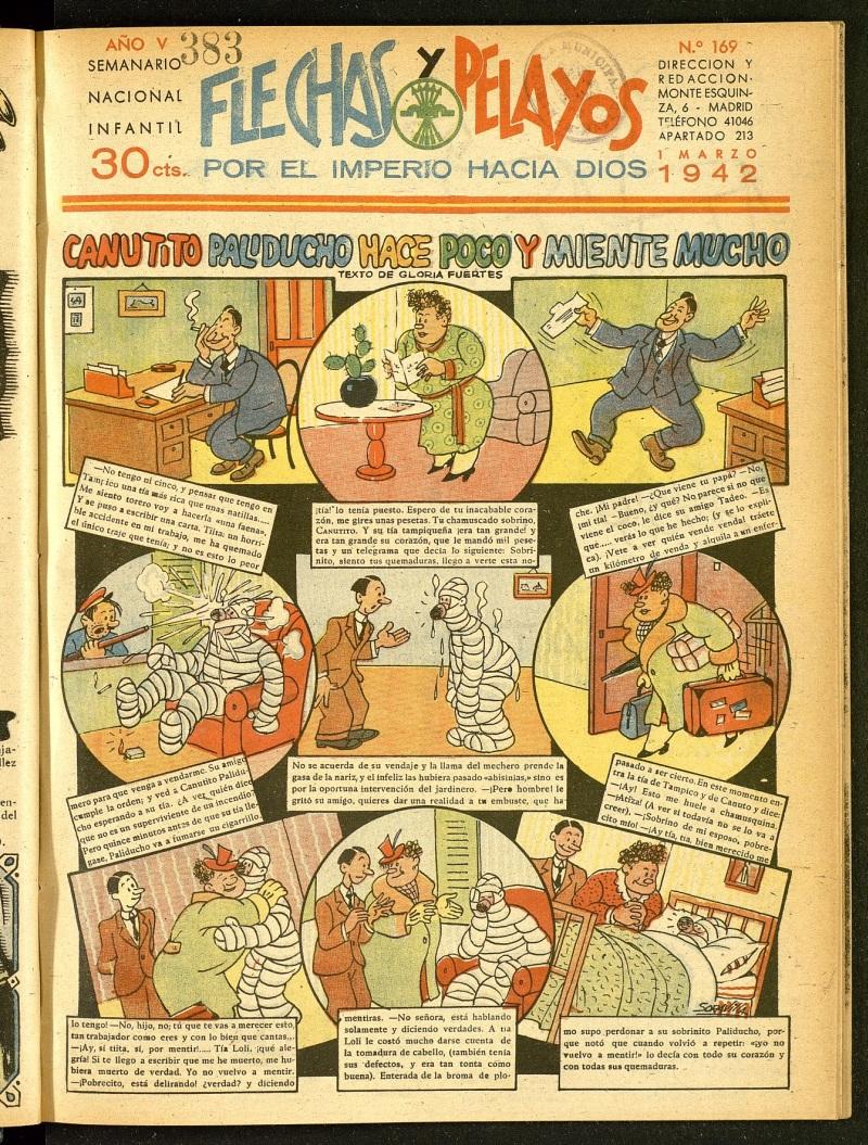 Historieta de Gloria Fuertes en la portada de  Flechas y Pelayos