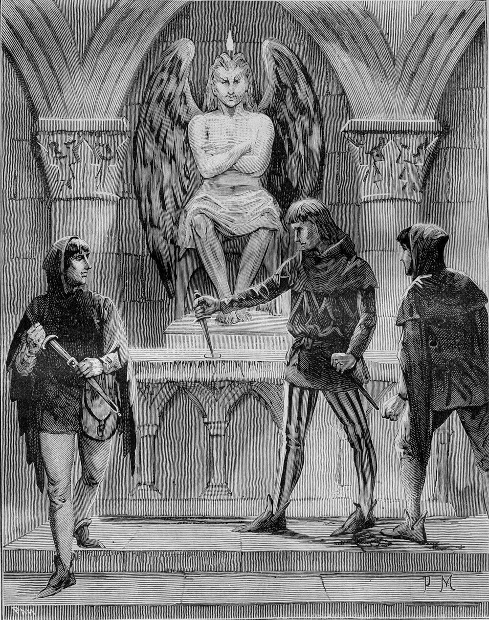 Masones y cultos diabólicos. Ilustración incluida en Les mystères de la franc-maçonnerie