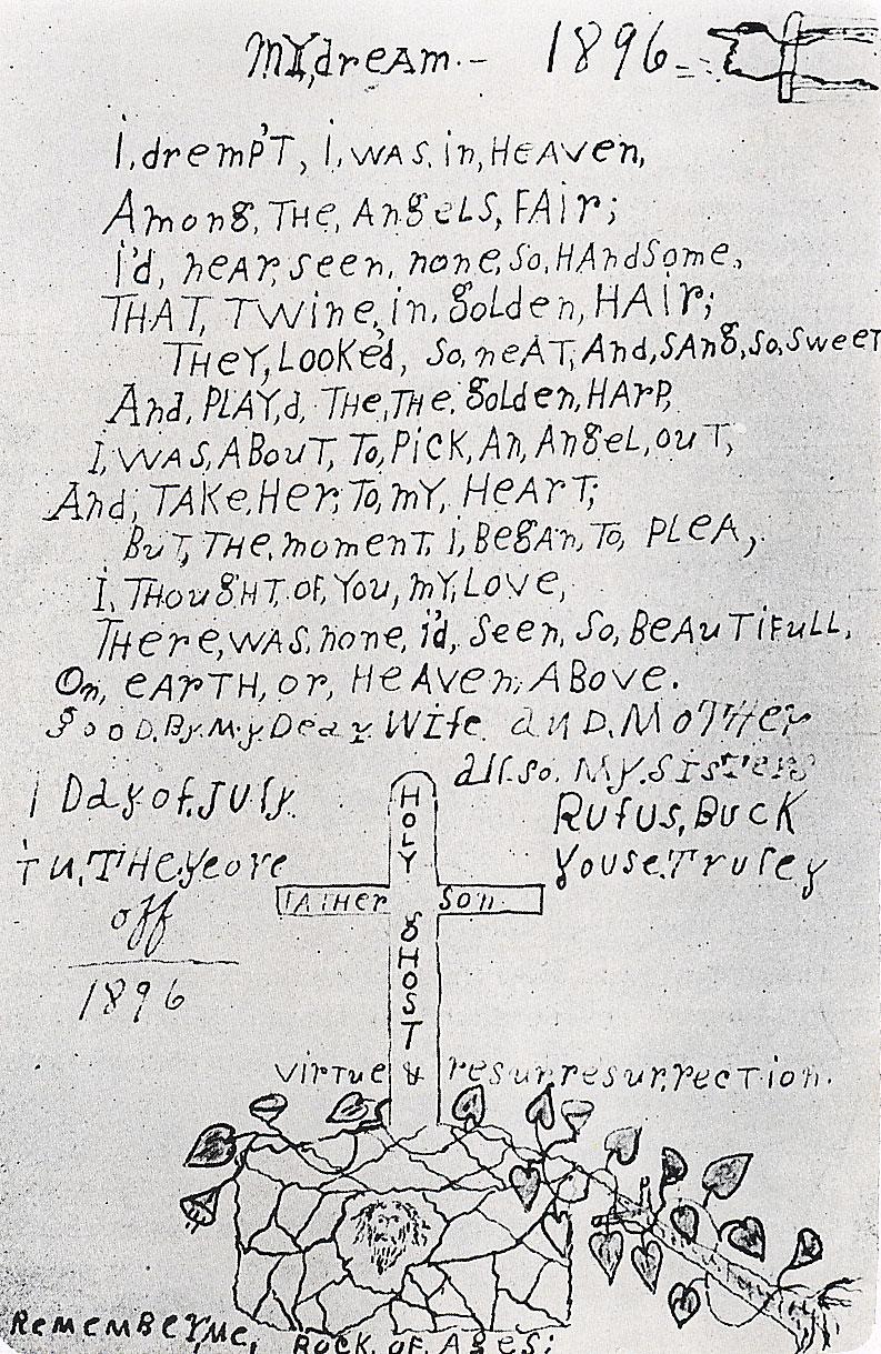 Nota manuscrita de Rufus Buck