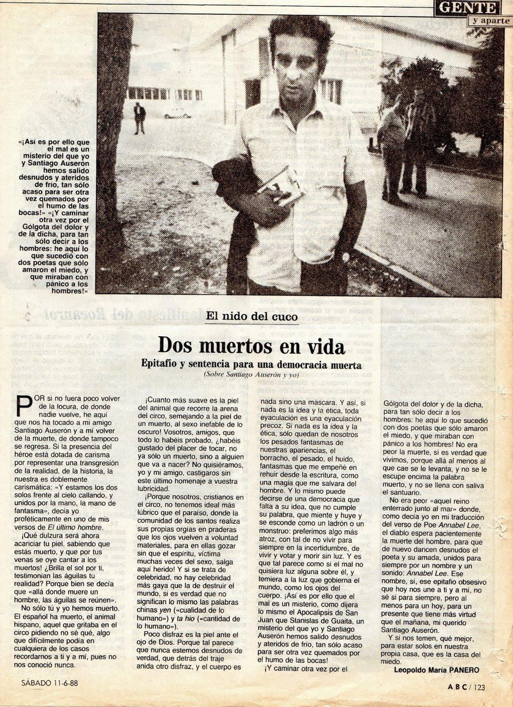 El artículo de Panero dedicado a Santiago Auserón ( ABC , 11 de junio de 1988)