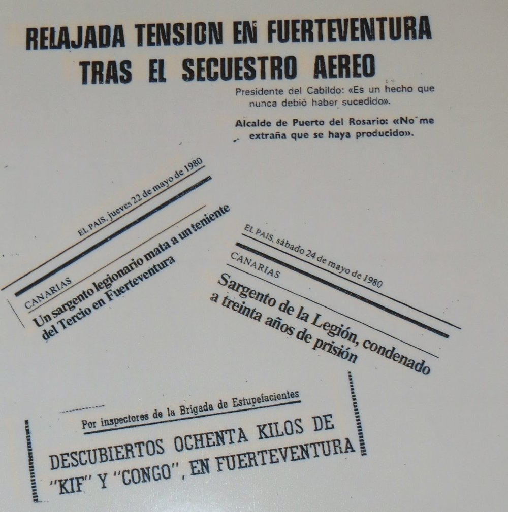 Recortes de prensa de la época dando cuenta de los desmanes de la Legión