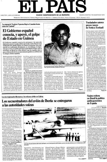 Portada de  El País  dedicada al secuestro (7 de agosto de 1979)