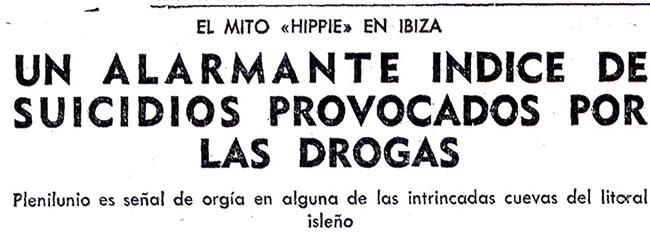Titulares del periódico Pueblo sobre la llegada de hippies a Ibiza