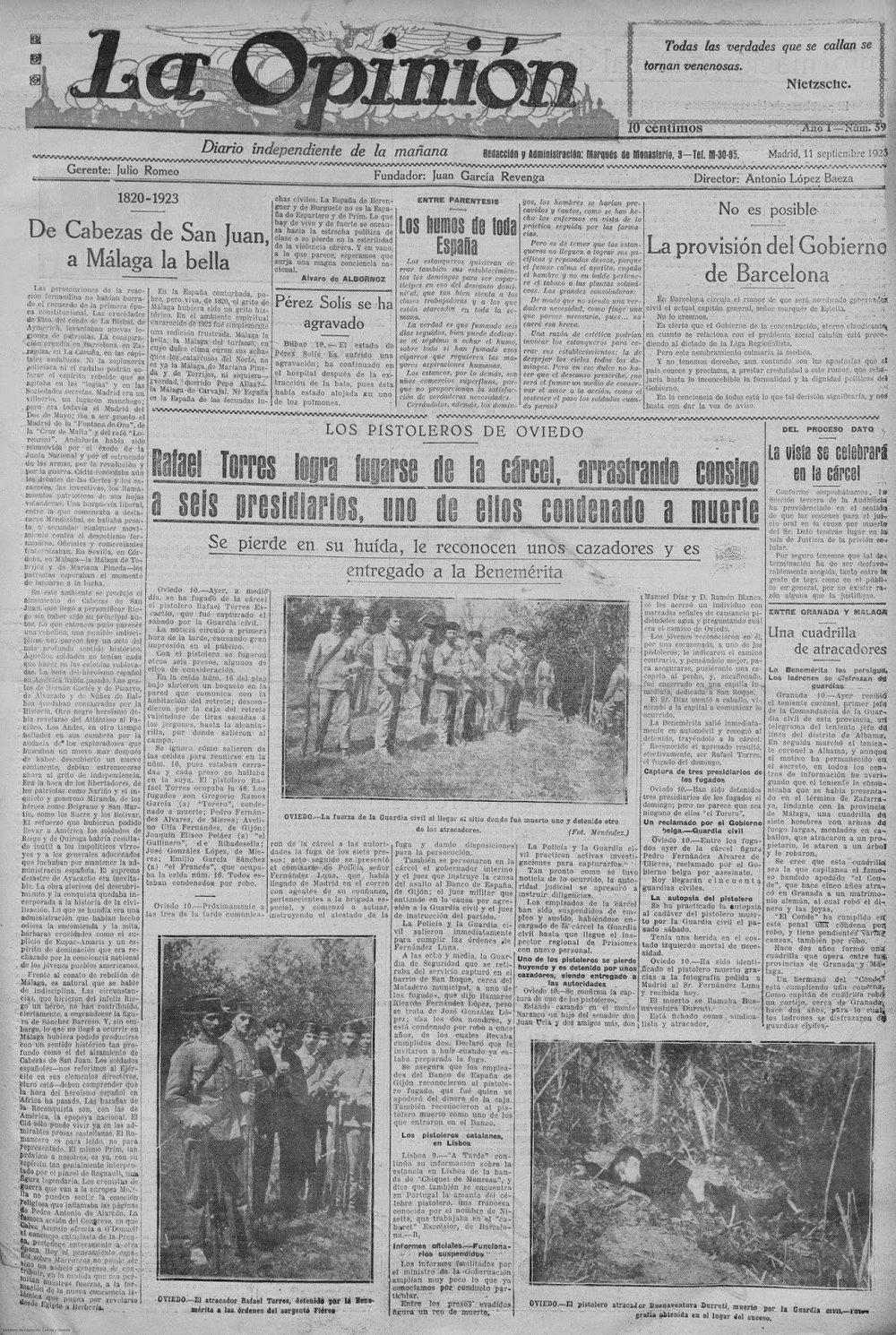 Portada de La Opinión (11 de septiembre de 1923). Abajo, a la derecha, noticia e imagen de la «muerte» de Durruti