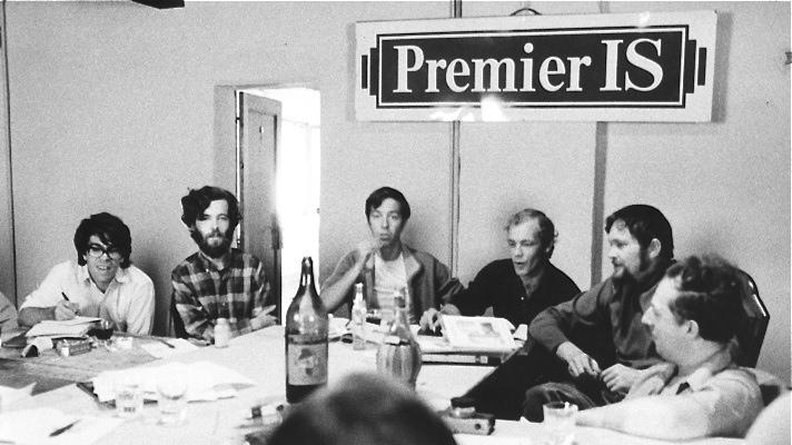 Conferencia de la IS en Venecia (1969. De ziquierda a derecha: Eduardo Rothe, Bruce Elwell, Robert Chasse, Tony Verlaan, J. V. Martin y Raoul Vaneigem.