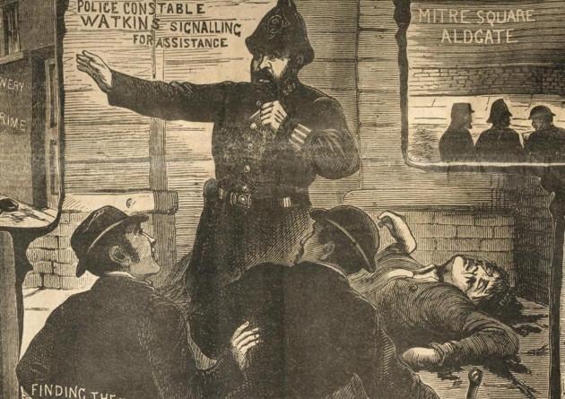 Ilustración de la época durante los crímenes de Jack el Destripador (1888)