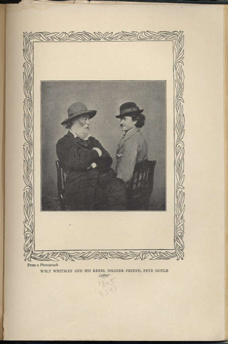 Whitman junto a un soldado. Horace Traubel,  With Walt Whitman in Camden  (1914)
