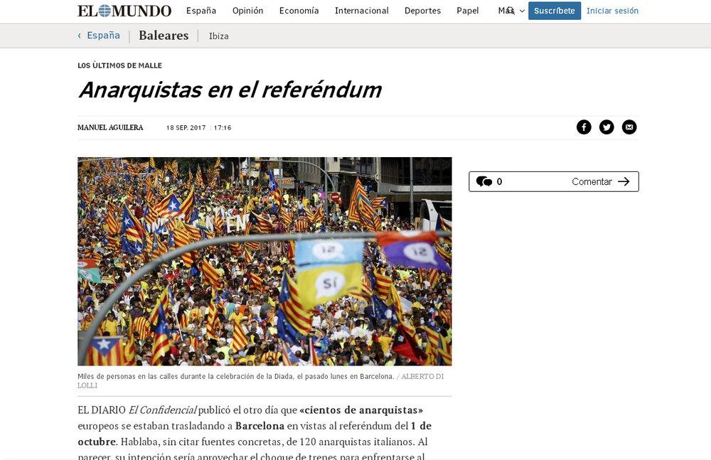 El Mundo , «Anarquistas en el referéndum»