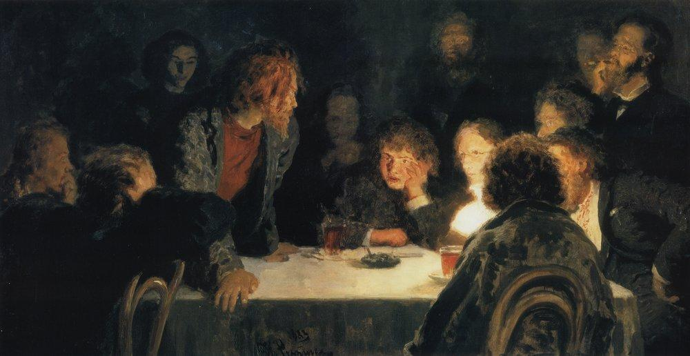 Ilya Repin,  The Revolutionary Meeting  (1883)
