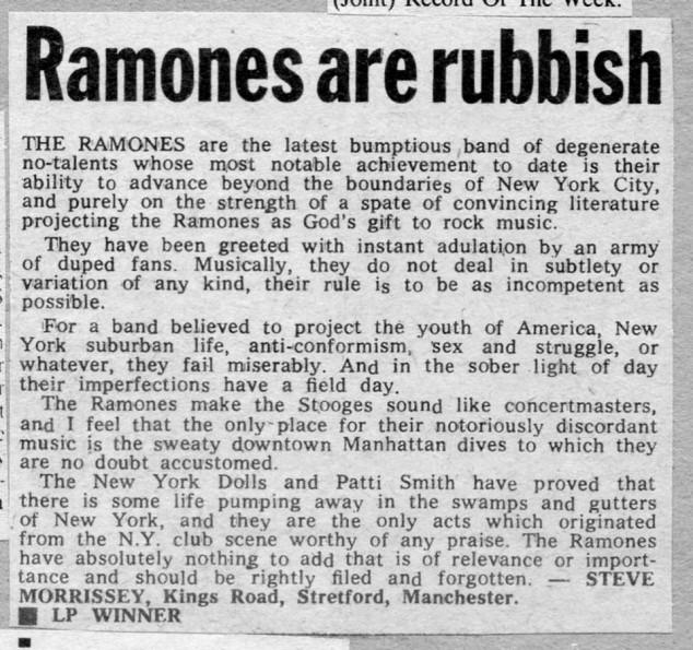 Reseña de Morrissey sobre Ramones ( Melody Maker , 24 de julio de 1976)
